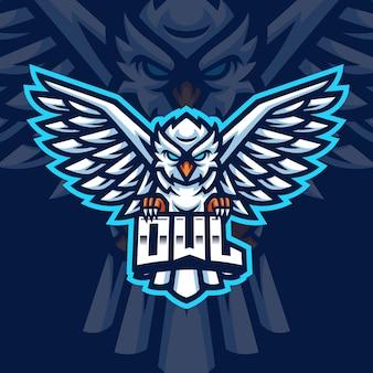 Modello di logo di gioco della mascotte del gufo bianco per lo streamer di esports facebook youtube