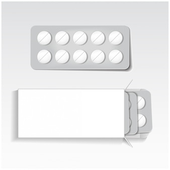 Pacchetto bianco con compresse, blister medicine mock up modello vettoriale.