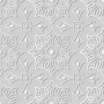 White paper art round cross square geometry flower, elegante motivo di sfondo per biglietto di auguri banner web
