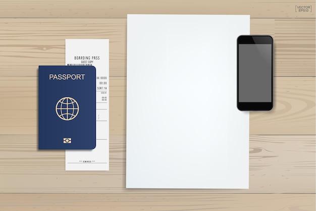 Sfondo del libro bianco con smartphone, passaporto e biglietto su uno sfondo di legno. sfondo per il turismo e l'idea di viaggio. illustrazione vettoriale.