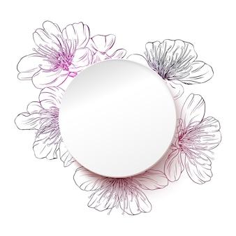 Cerchio di carta bianca con uno sfondo di fiori. illustrazione vettoriale di primavera con copia spazio in stile carta moderno