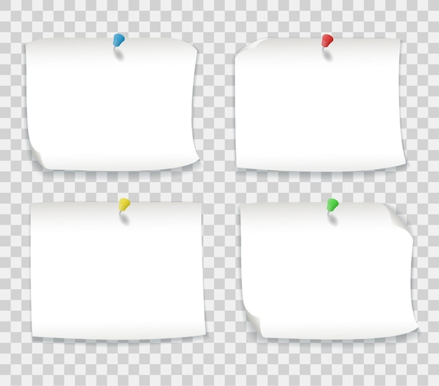 Note di carta bianca con perni colorati isolati su sfondo trasparente