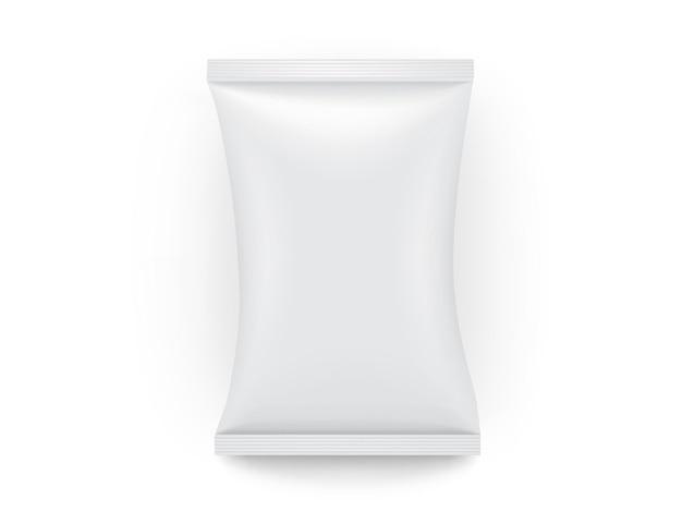 Confezione di carta bianca isolata su sfondo bianco