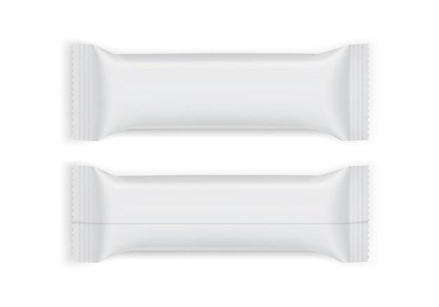Confezione di carta bianca vista dall'alto e dal basso isolato su bianco