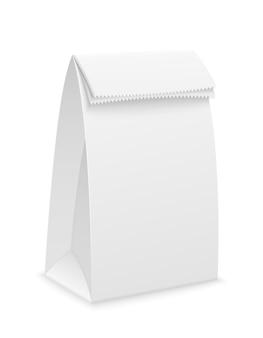 Imballaggio di carta bianca su bianco Vettore Premium