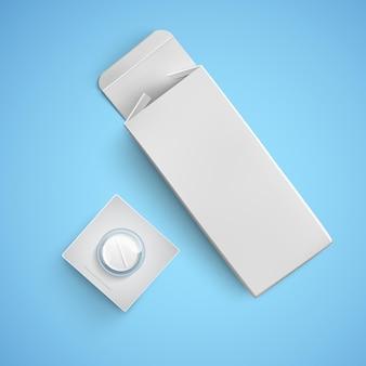 Confezione di carta bianca con pillola bianca, modelli di pacchetti per medicinali, illustrazione