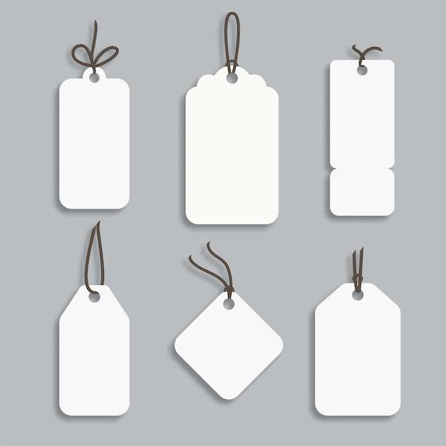 Cartellino del prezzo in carta bianca o cartellino regalo in diverse forme.