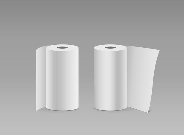 Rotolo di carta bianca lungo design verticale due rotoli, su sfondo grigio, illustrazione