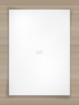 Fondo del foglio di carta bianco su struttura di legno. illustrazione vettoriale.