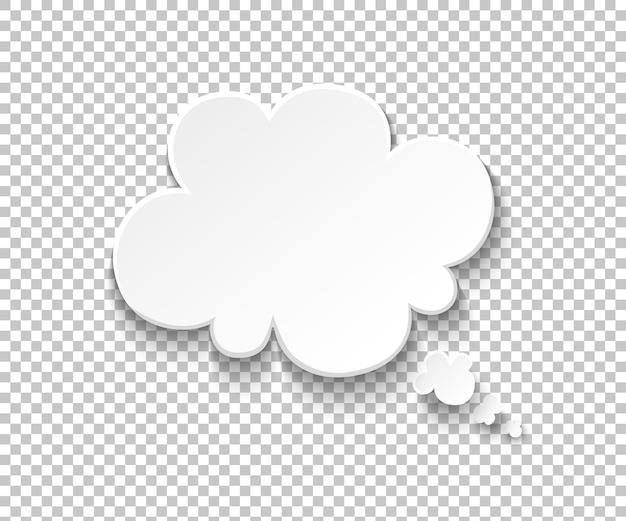 Fumetto di carta bianca. palloncini pensiero vuoto, pensare nuvola illustrazione. simboli di discorso di vettore e messaggio comico di idea di pensiero