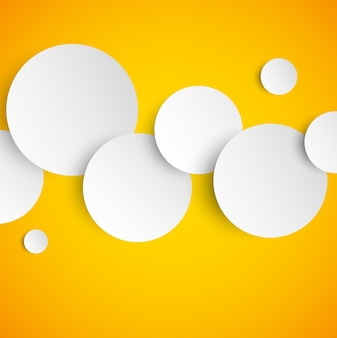 Cerchi in stile carta bianca su sfondo arancione