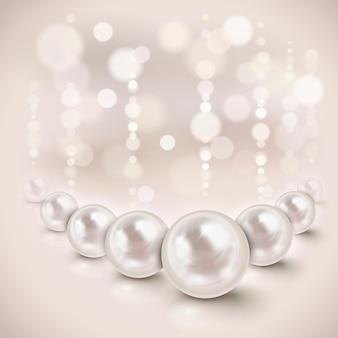 Sfondo lucido di perle bianche con effetti di luce