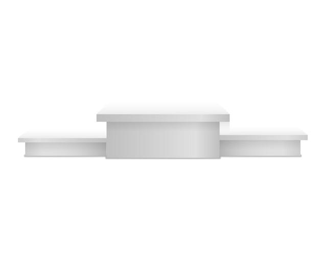 Piedistallo bianco piattaforma stand cilindro rotondo e quadrato vuoto palco e scale podio d