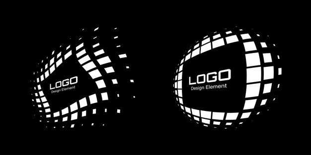Insieme del logo del telaio in prospettiva bianca elemento di design dell'emblema dei punti rettangolari astratti per la tecnologia