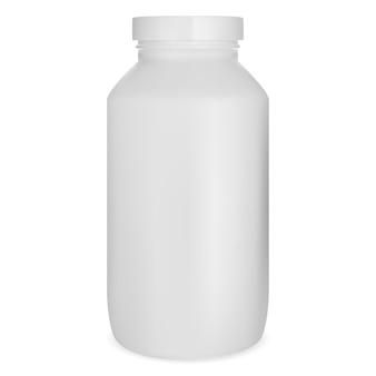 Bottiglia di pillola bianca, modello di barattolo di medicina, capsula di supplemento può isolato su sfondo bianco. modello di bottiglia di farmaci per compresse mediche, illustrazione del prodotto del rimedio di prescrizione della farmacia