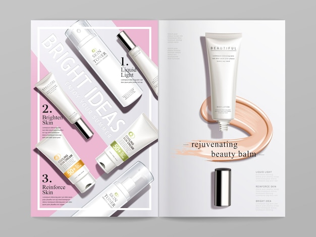 Design brochure bi fold a tema cosmetico bianco e rosa