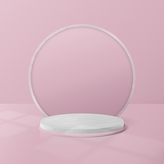 Display del podio del cerchio in marmo bianco e rosa.