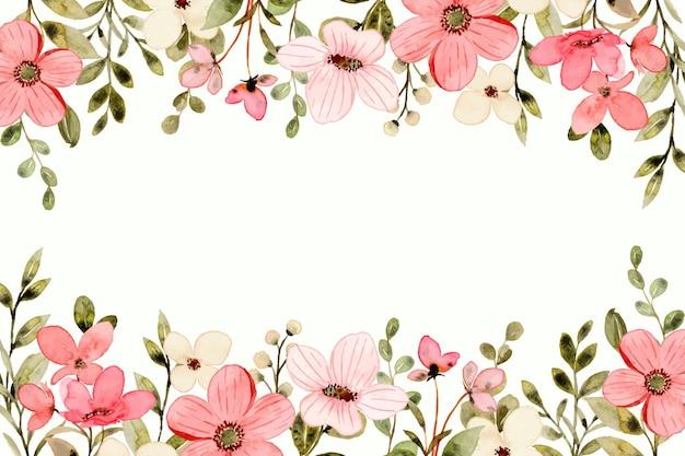 Sfondo di fiori di campo rosa bianco con acquerello