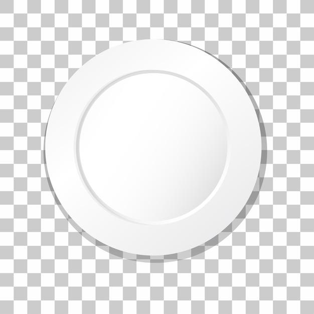 Piatto piano bianco su sfondo trasparente