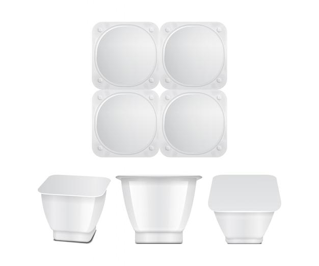 Contenitore di plastica bianco con involucro di plastica o coperchio di alluminio. per latticini, yogurt, panna, dessert, marmellata. confezione quadrata. vista frontale, superiore, laterale