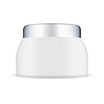 Mockup di vasetto di crema di plastica bianca con coperchio in argento.