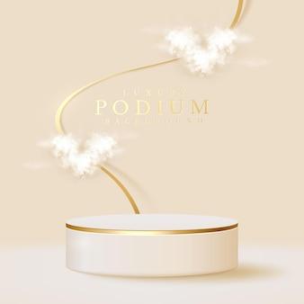 Prodotto di visualizzazione del podio bianco e nuvola a forma di cuore con elemento di linee d'oro scintillante, sfondo realistico in stile di lusso 3d, illustrazione vettoriale per promuovere le vendite e il marketing.