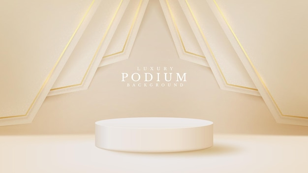 Prodotto di visualizzazione del podio bianco e scena della linea dorata scintillante, sfondo realistico in stile di lusso 3d, illustrazione vettoriale per promuovere le vendite e il marketing.
