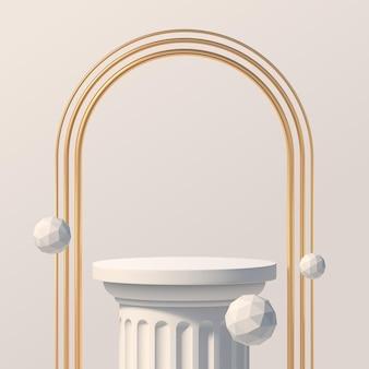 Podio bianco e archi dorati podio per la presentazione del prodotto