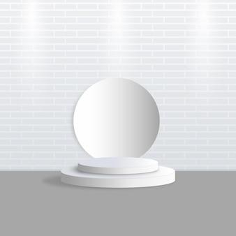 Scena di visualizzazione del prodotto sul podio bianco