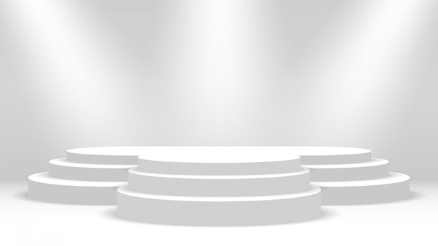 Podio e faretti bianchi. palco per la cerimonia di premiazione. piedistallo. illustrazione.