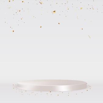 Podio bianco con coriandoli dorati. illustrazione vettoriale
