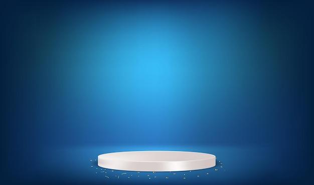 Podio bianco con coriandoli dorati in camera blu. illustrazione vettoriale