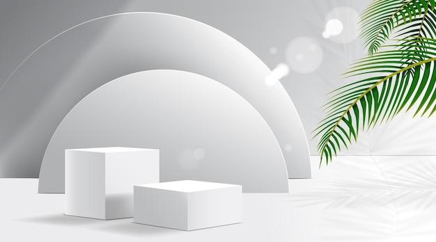Podio bianco con sfondo bianco minimo per il modello di presentazione del prodotto