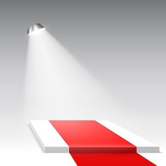 Podio bianco con tappeto rosso e riflettori. piedistallo. scena. illustrazione.