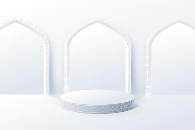 L'esposizione del prodotto bianco simula con la porta della moschea interna islamica. podio 3d.