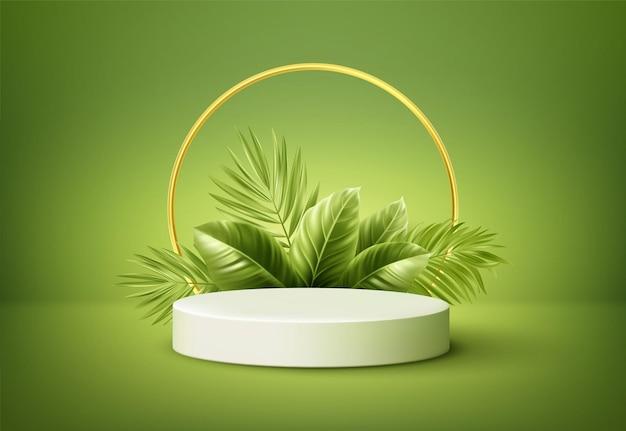 Podio del prodotto bianco con foglie di palma tropicale verde e arco a tutto sesto dorato sulla parete verde