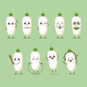 Ravanello bianco carattere icona animazione cartone animato mascotte adesivo espressione