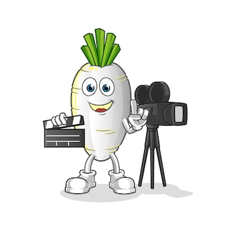 Mascotte del regista di ravanello bianco. cartone animato