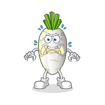 Mostro di ravanello bianco. personaggio dei cartoni animati
