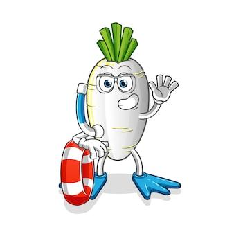 Nuotatore ravanello bianco con mascotte boa. cartone animato