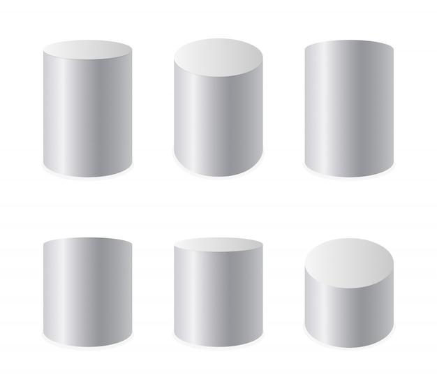 Set di cilindri realistici bianchi