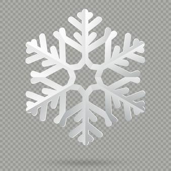 Fiocco di neve di natale bianco realistico carta piegata con ombra su sfondo trasparente.