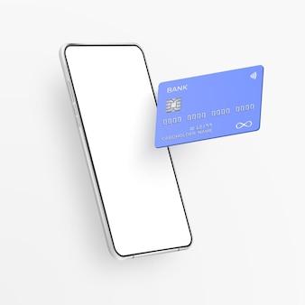 Smartphone realistico bianco e carta di credito in plastica