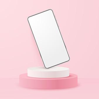 Smartphone realistico bianco sul podio. cellulare con schermo bianco vuoto. modello moderno del telefono cellulare su fondo rosa. illustrazione dello schermo del dispositivo