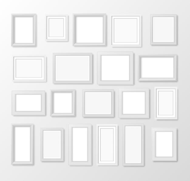 Cornice per foto vuota quadrata bianca realistica. cornice foto vuota sul muro. elemento di design moderno per il tuo prodotto o presentazione. pittura moderna opera d'arte vuota. illustrazione.