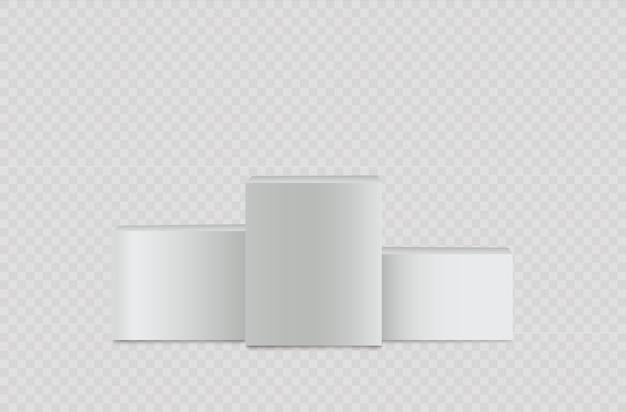 Cilindro realistico bianco, supporto vuoto, podio quadrato.
