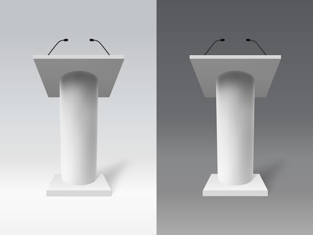 Tribuna bianca realistica. discorso 3d dibattito tribuna, tribuna discorso presentazione pubblica impostato