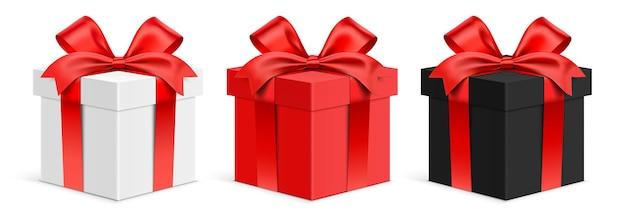 Scatole regalo vettoriali bianche rosse e nere
