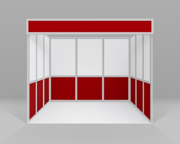 Stand standard per stand fieristici interni bianco rosso vuoto per la presentazione isolato