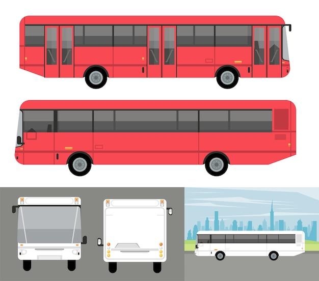 Veicoli di automobili mockup di autobus bianchi e rossi